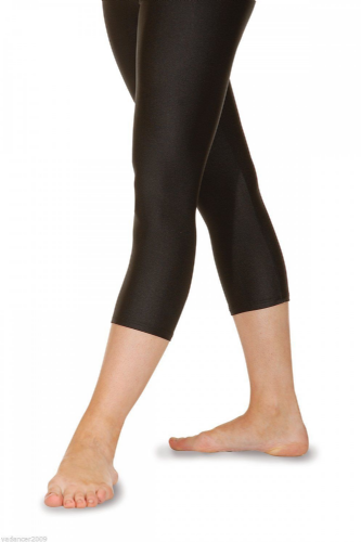 Roch Valley Crop 3/4 Leggings Nylon Lycra Shiny Black-Dance Gymnastics Freestyle